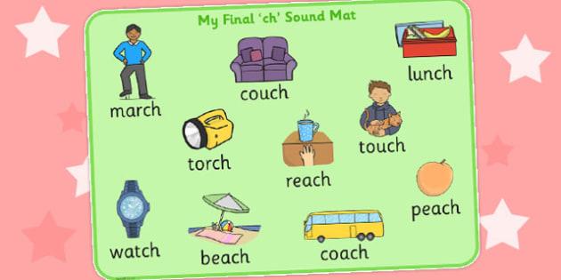 Final Ch Sound Word Mat - final ch, sound, word mat, word, mat
