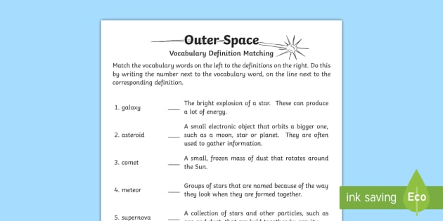 Outer Space Definition Matching Worksheet / Activity Sheet