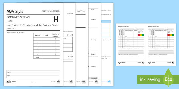 new aqa gcse atomic structure and the periodic table higher assessment pack atoms