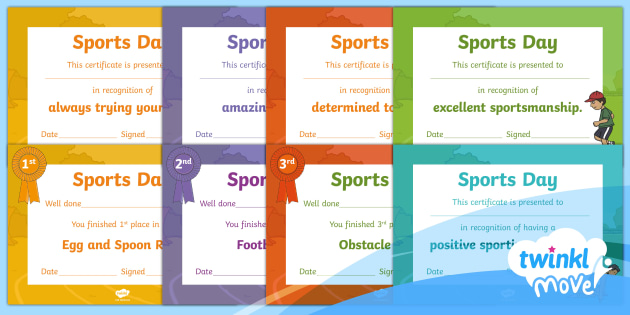 new twinkl move pe ks1 sports day certificates resource. Black Bedroom Furniture Sets. Home Design Ideas