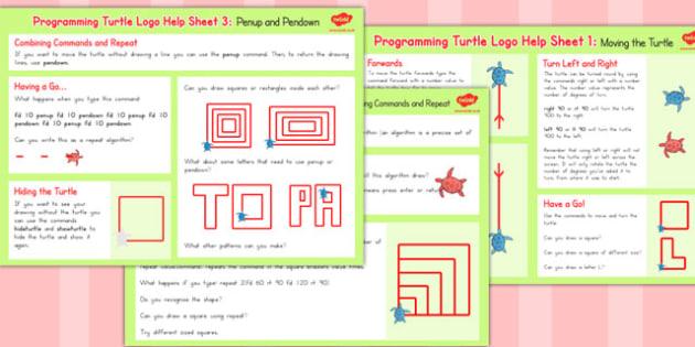 Programming Turtle Logo Help Sheets - worksheets, activities