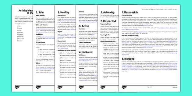 Early Level SHANARRI Activity Ideas - CfE, Early Level, SHANARRI, wellbeing, activity ideas for SHANARRI