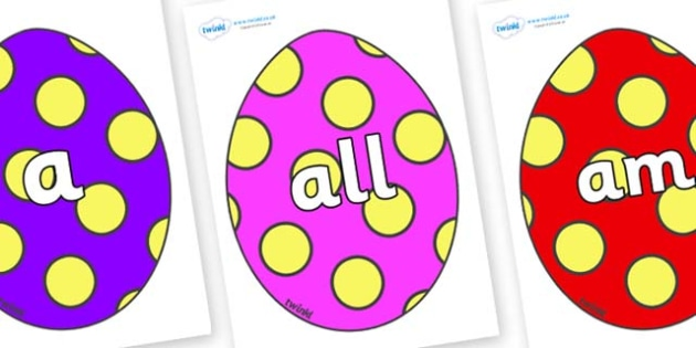 Foundation Stage 2 Keywords on Easter Eggs (Spots) - FS2, CLL, keywords, Communication language and literacy,  Display, Key words, high frequency words, foundation stage literacy, DfES Letters and Sounds, Letters and Sounds, spelling