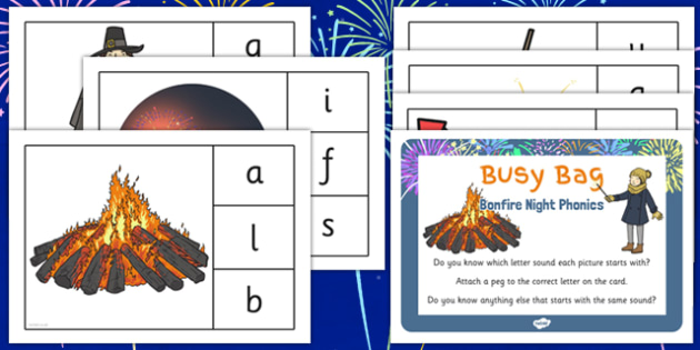 Bonfire Night Phonic Busy Bag Prompt Card and Resource Pack - bonfire night, phonic, busy bag
