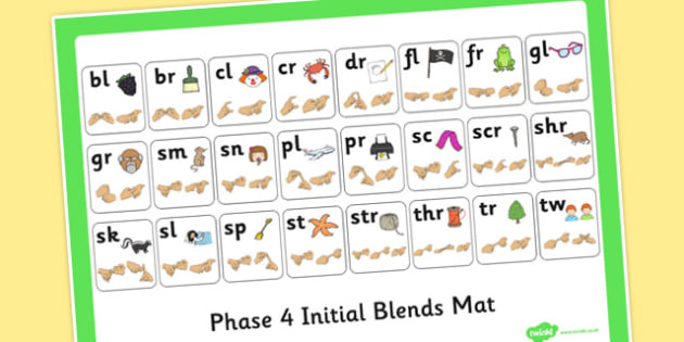Phase 4 Initial Blends Mat with British Sign Language Fingerspell
