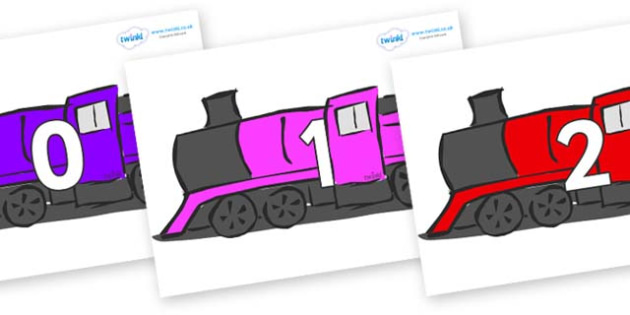 Numbers 0-31 on Trains - 0-31, foundation stage numeracy, Number recognition, Number flashcards, counting, number frieze, Display numbers, number posters