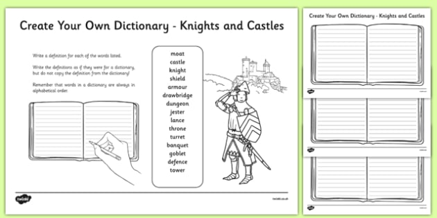 Knights and Castles Key Vocabulary Create Your Own Dictionary