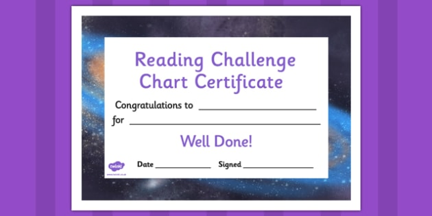 Reading Challenge Chart Certificates Galaxy Themed - awards, record, celebrate, celebration, early years, ks1, ks2, target, space, stars, sun, moon, stellar, sky, rockets,