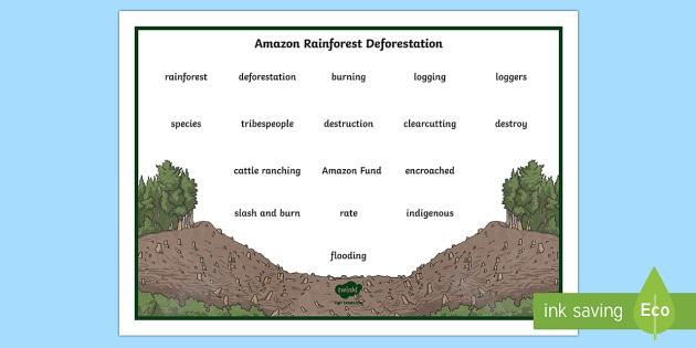Deforestation Word Bank Word Mat - World Around Us KS2, deforestation, amazon rainforest, loggers, global issues
