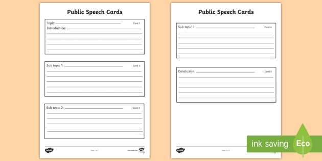 Speech planning template