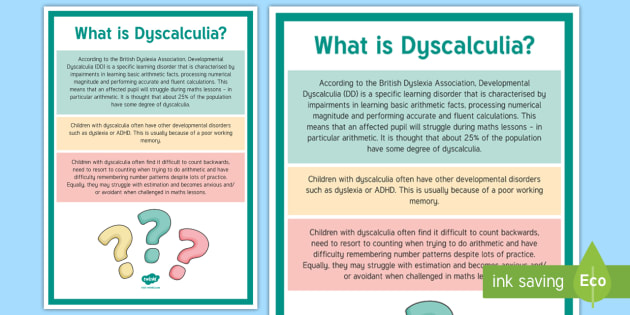 What Is Dyscalculia? A4 Display Poster - Dyscalculia, Maths