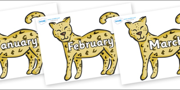 Months of the Year on Leopards - Months of the Year, Months poster, Months display, display, poster, frieze, Months, month, January, February, March, April, May, June, July, August, September