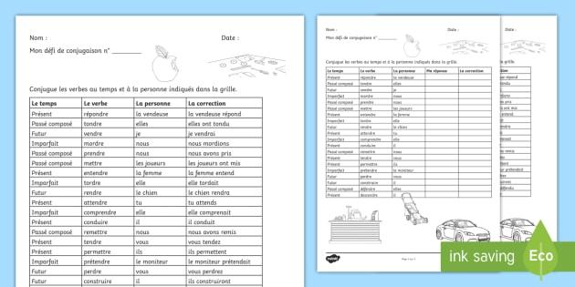 Defi De Conjugaison Les Verbes En Re Teacher Made