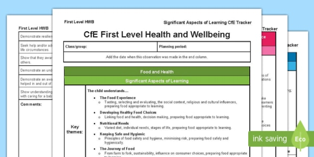 Health and Wellbeing Significant Aspects of Learning and Progression Framework CfE First Level Tracker-Scottish