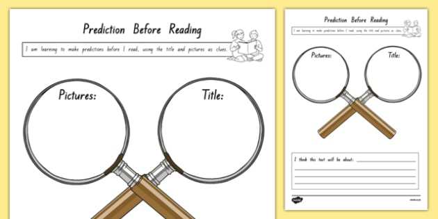 Prediction Before Reading Activity Sheet, worksheet