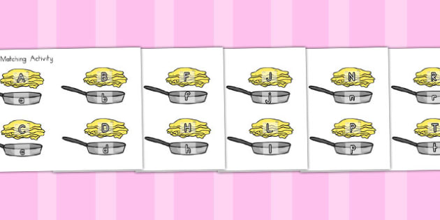Pancake and Pan Upper And Lowercase Matching Activity - australia