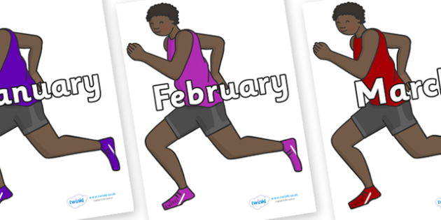 Months of the Year on Runners - Months of the Year, Months poster, Months display, display, poster, frieze, Months, month, January, February, March, April, May, June, July, August, September
