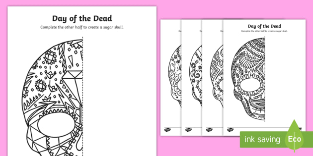 Day of the Dead Sugar Skull Draw the Other Half Worksheet /