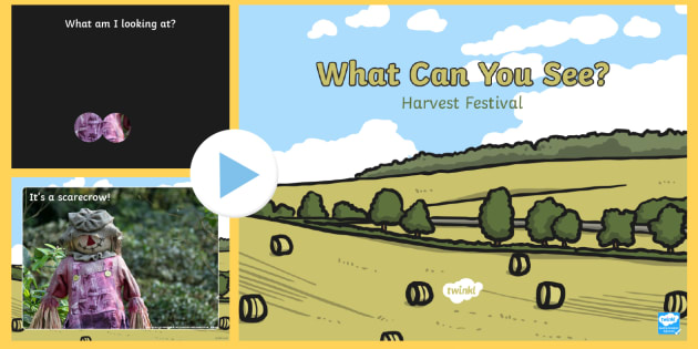 EYFS Harvest Festival What can you see? PowerPoint - Harvest, festival, autumn, food, vegetables, fruit, what am I, harvest festival