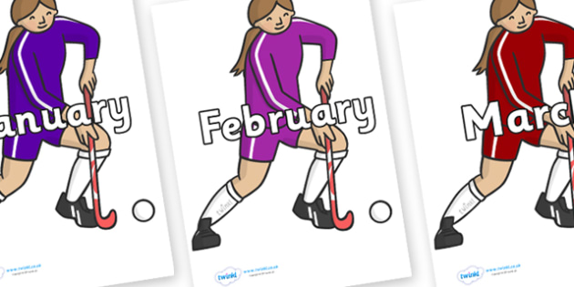 Months of the Year on Hockey Players - Months of the Year, Months poster, Months display, display, poster, frieze, Months, month, January, February, March, April, May, June, July, August, September