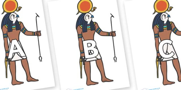 A-Z Alphabet on Egyptian Figures - A-Z, A4, display, Alphabet frieze, Display letters, Letter posters, A-Z letters, Alphabet flashcards