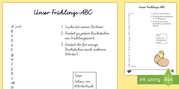Frühlings ABC Arbeitsblatt - spring, seasons, Frühling