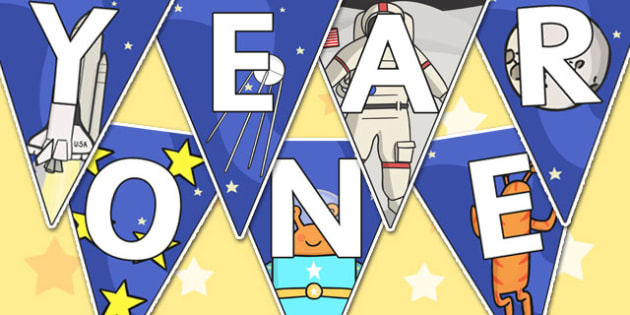 Welcome to Year One Bunting Space Themed - year one, welcome to year one, bunting, themed bunting, display bunting, bunting flags, flag bunting, cut outs