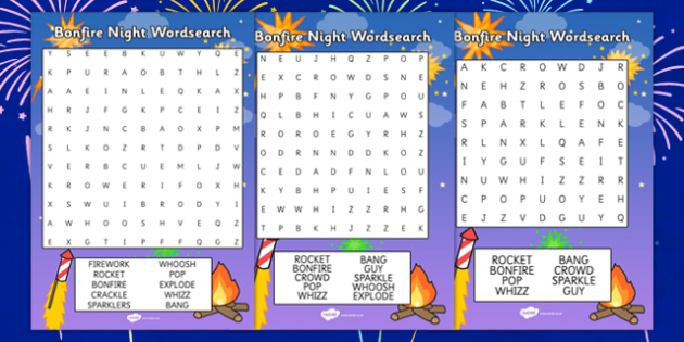 Bonfire Night Word Search - bonfire night, festivals, celebrations