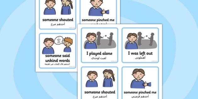 SEN Communication Cards Explanations Boy Arabic Translation