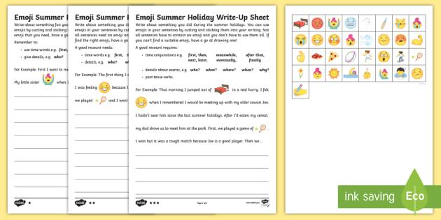 ks1 emoji summer holiday write up differentiated worksheet worksheets. Black Bedroom Furniture Sets. Home Design Ideas