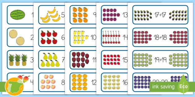 Tarjetas educativas: Dobles - La comida - matemáticas, dobles, múltiplos de 2, números pares, suma, adición,Spanish