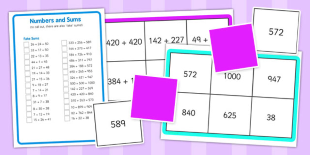 Addition up to 1000 Bingo - addition, 1000, bingo, game, activity