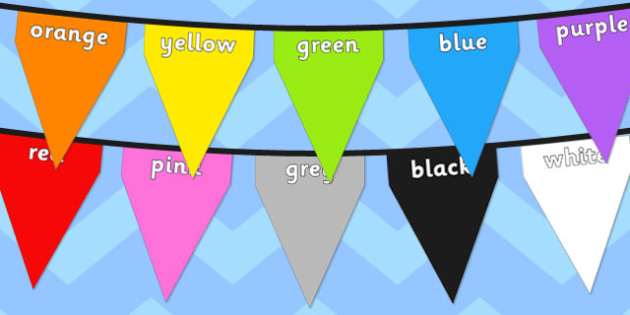 Colours on Bunting - colours, names, red, orange, yellow, green, blue, purple, rainbow, colourful, display, classroom