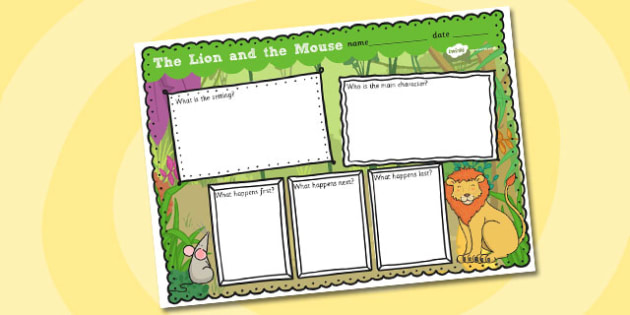 The Lion and the Mouse Story Review Writing Frame - story review, story, writing frame