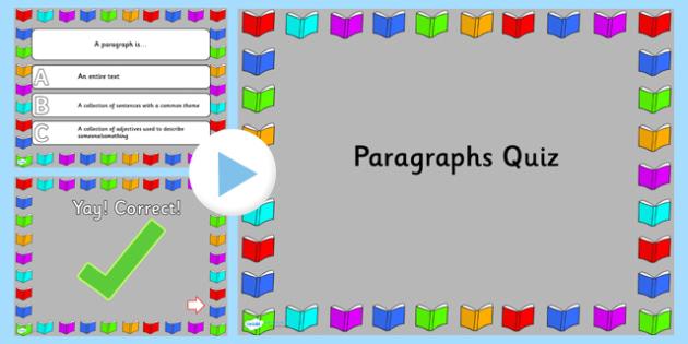 Paragraphs PowerPoint Quiz - paragraphs, powerpoint, quiz, games