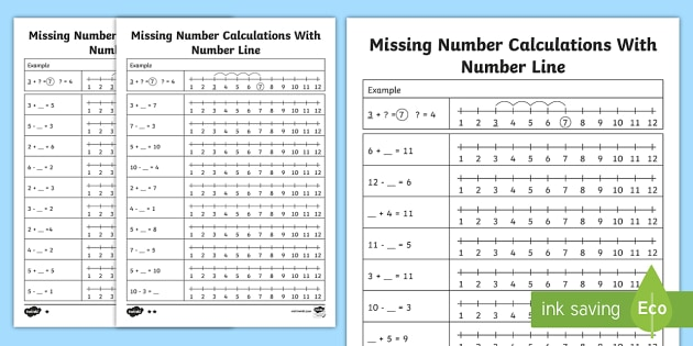 Missing Number Calculations with a Number Line Worksheet /