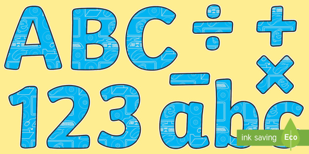 ICT Themed Display Lettering - ict, computing, display lettering, display, lettering, letters