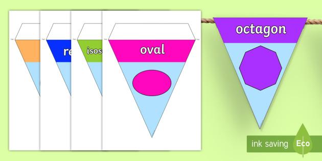2D Shape Display Bunting - shape bunting, 2d shape bunting, shape display bunting, 2d shapes display, 2d shapes, bunting, numeracy bunting, maths bunting