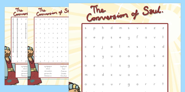 The Conversion of Saul Differentiated Word Search - usa, america, activity, bible stories, conversion, saul, road to damascus