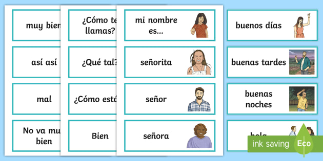 picture about Spanish English Flashcards Printable identify Greetings Flashcards Spanish - spanish, greetings