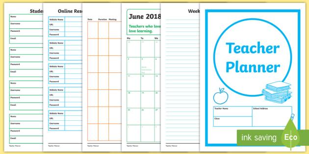 editable teacher planner academic year 2018 19