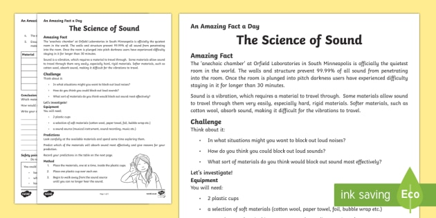 The Science of Sound Activity Sheet - Amazing Fact Of The Day, activity sheets, powerpoint, starter, morning activity, December, sound pro