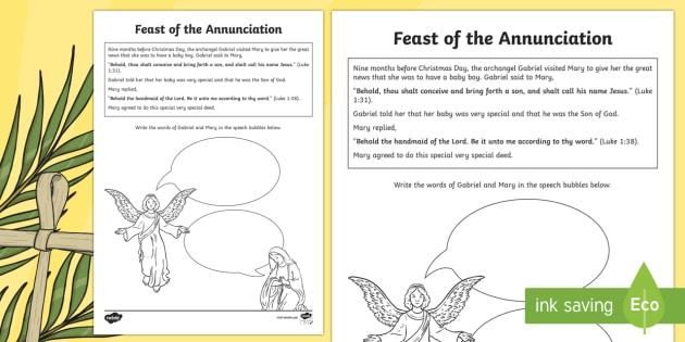 feast of the annunciation worksheet    worksheet
