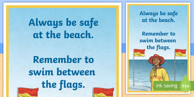 Swim Between the Flags A4 Display Poster - Surf Life Saving Australia, surf, surfing, life saver, life guard, swim between the flags, flag, bea