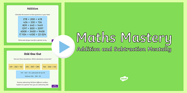 Year 5, Addition and Subtraction, Mental Maths Mastery Activities PowerPoint