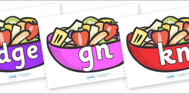 Silent Letters on Fruit Salad - Silent Letters, silent letter, letter blend, consonant, consonants, digraph, trigraph, A-Z letters, literacy, alphabet, letters, alternative sounds
