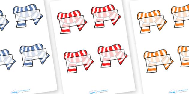 Editable Self Registration Labels (Scarves) - Self registration, winter, scarf, woolly hat, register, editable, labels, registration, child name label, printable, snowflake, skis, ice skates, gloves, hat, ice, snow, skiing, snowboarding, sledging