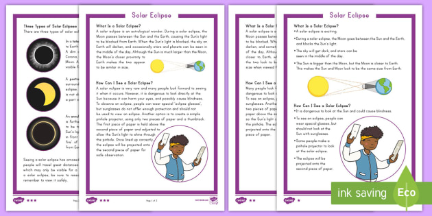 Solar Eclipse Fact File - science, light, space, sun, earth, moon, stars, events