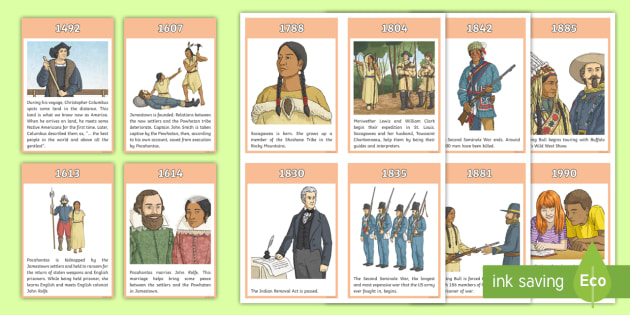 Native American Timeline Cards - Native Americans, timeline, significant events, ordering events, chronology, history,Scottish