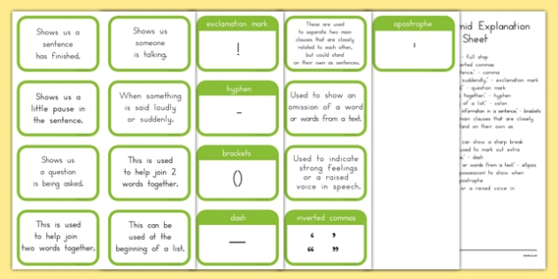 Punctuation Pyramid Explanation Flashcards - punctuation, words